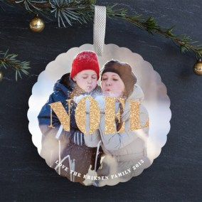 Metallic Noel Ornament Card