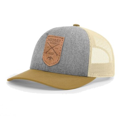 HR010 Richardson Grey Gold Leather Patch Trucker Hat Hooray Ranch Online Store Kansas Hunting Experience 0001
