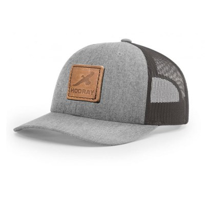HR013 Richardson Grey Leather Patch Trucker Hat Hooray Ranch Online Store Kansas Hunting Experience 0001
