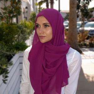 Hooriyah Collection's Venza -Deep Pink premium chiffon hijab wrap