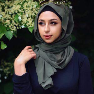 Hooriyah Collection's Premium Chiffon hijab,Venza -Olive Green
