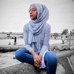 Hooriyah Collection's Viscose Hijab with shinny squares