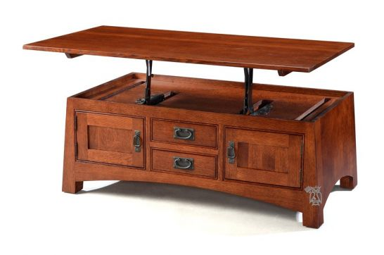 california made solid quartersawn oak wood sierra vista lift top coffee table in wyoming finish
