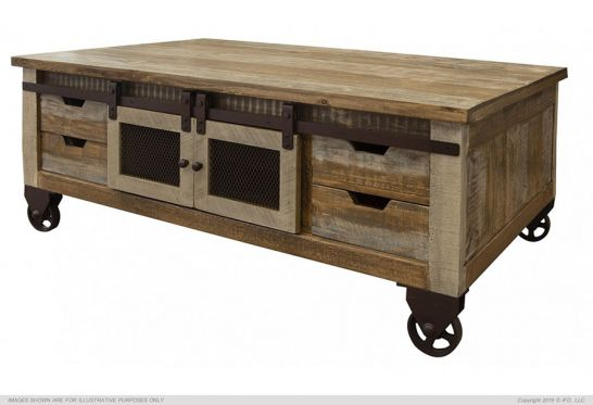 pine wood antique storage coffee table with sliding doors and wheels