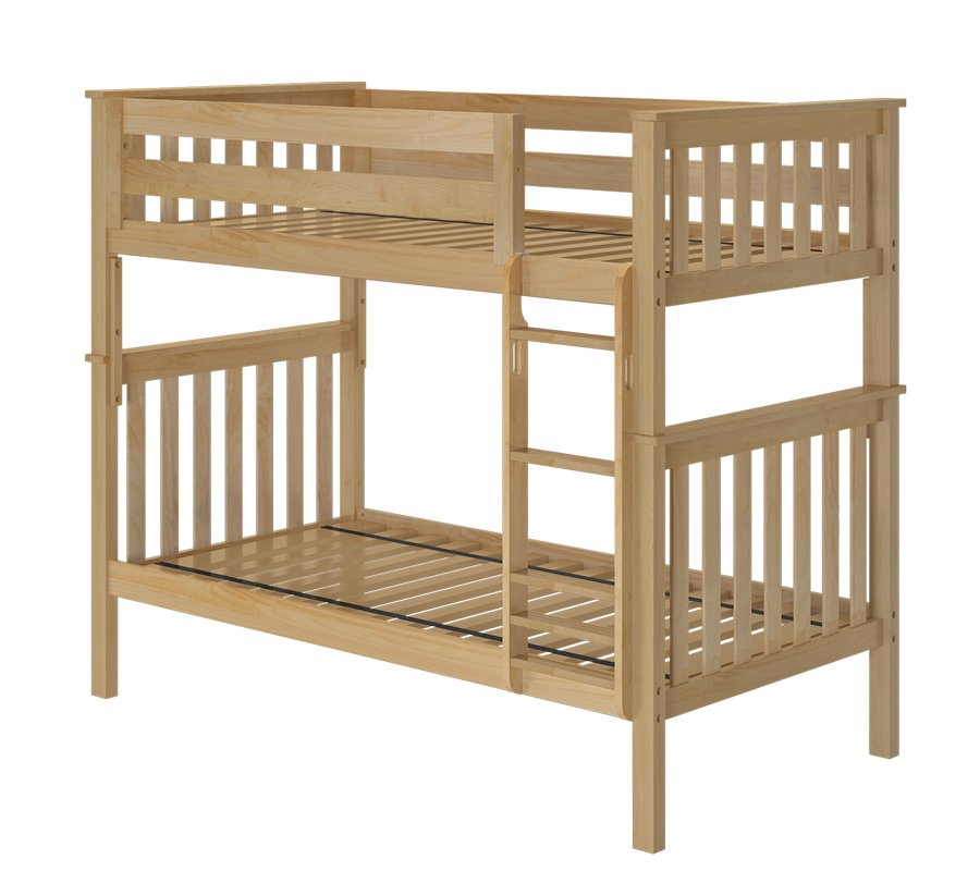 solid birch wood bristol twin over twin bunk bed in natural finish
