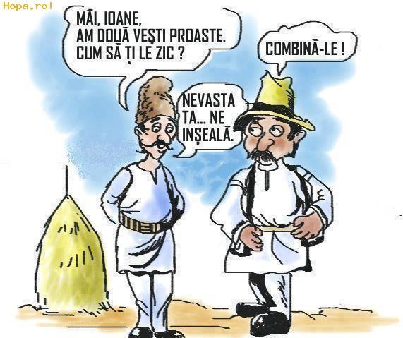 Caricaturi - Ion, nevasta lui si restu' satului