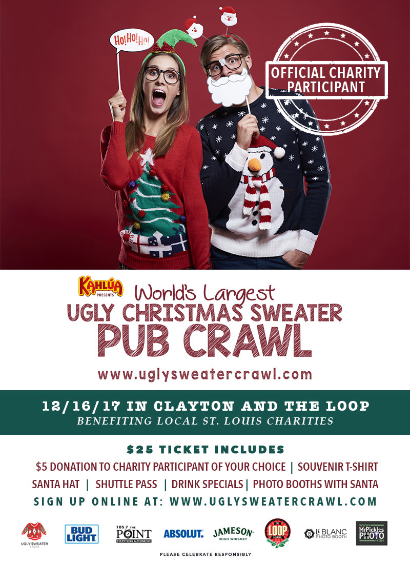 the 3rd annual worlds largest ugly christmas sweater party is back and moving to the city of clayton and the loop for a two city pub crawl benefiting 5