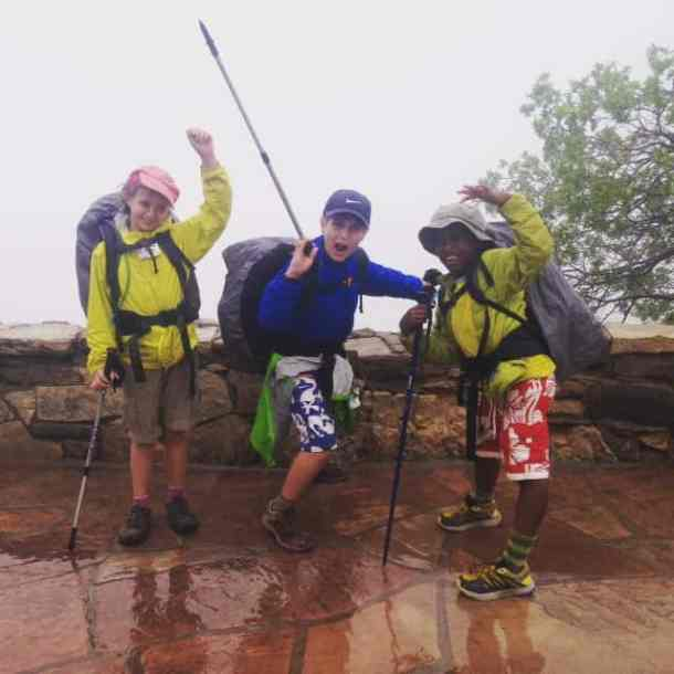 Kids at the top of the Grand Canyon