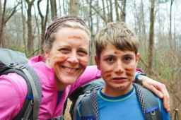 Aidan and Nancy with mud paint