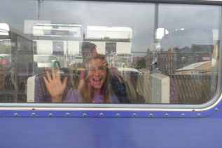 Paige on train