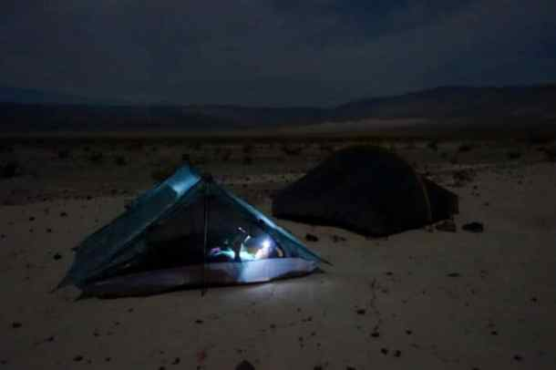 Paige in tent in Death Valley National Park