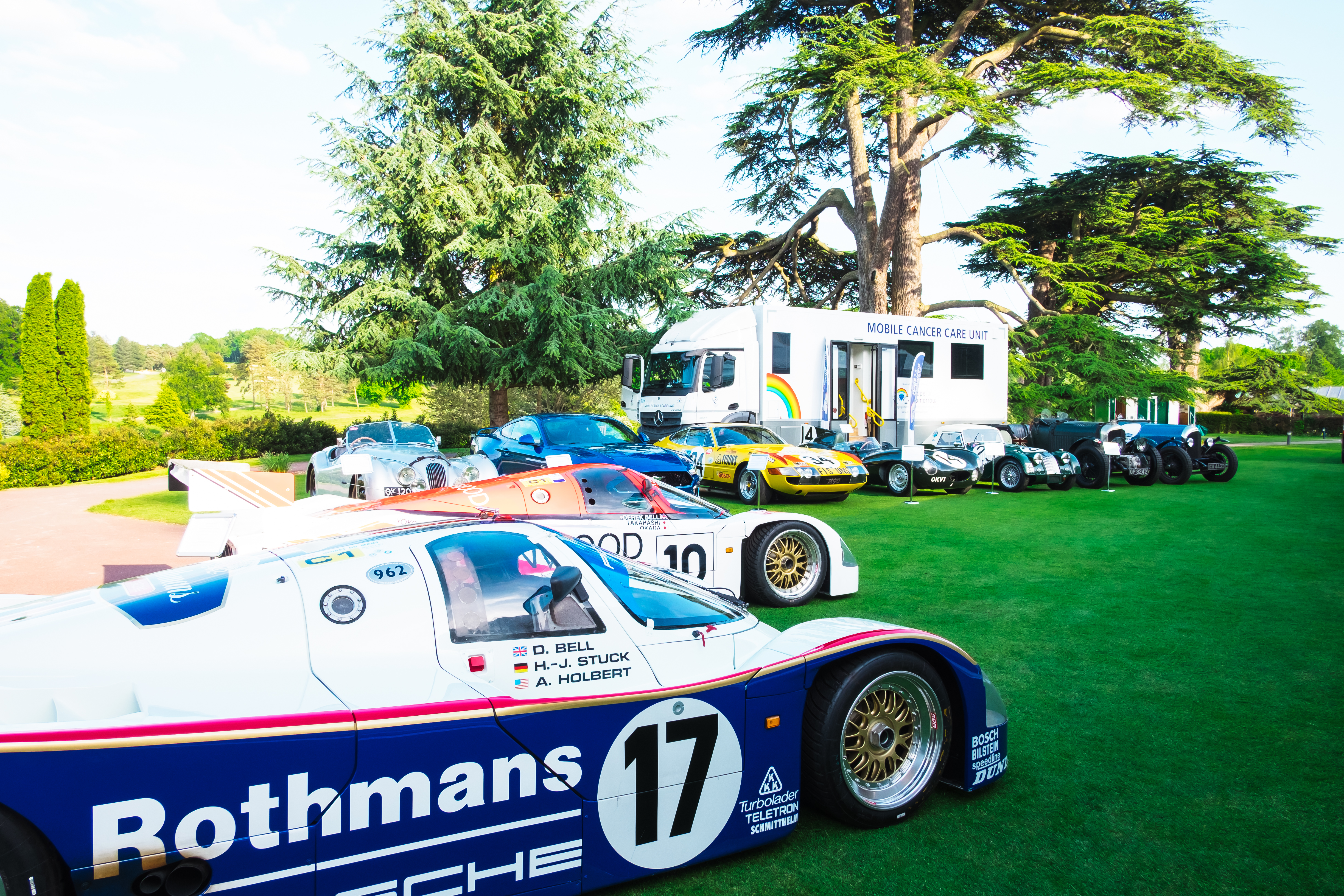 Display cars and Mobile Cancer Care Unit on display at Legends of Le Mans event
