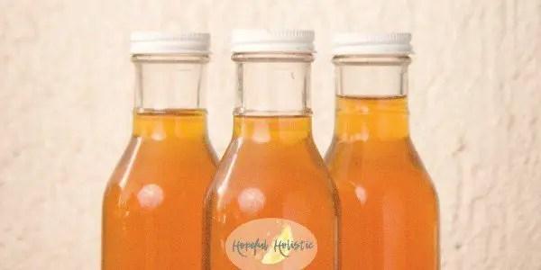 Three bottles of homemade kombucha