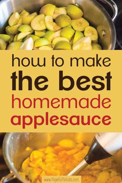 Apples in a pot with text overlay- how to make the best homemade applesauce