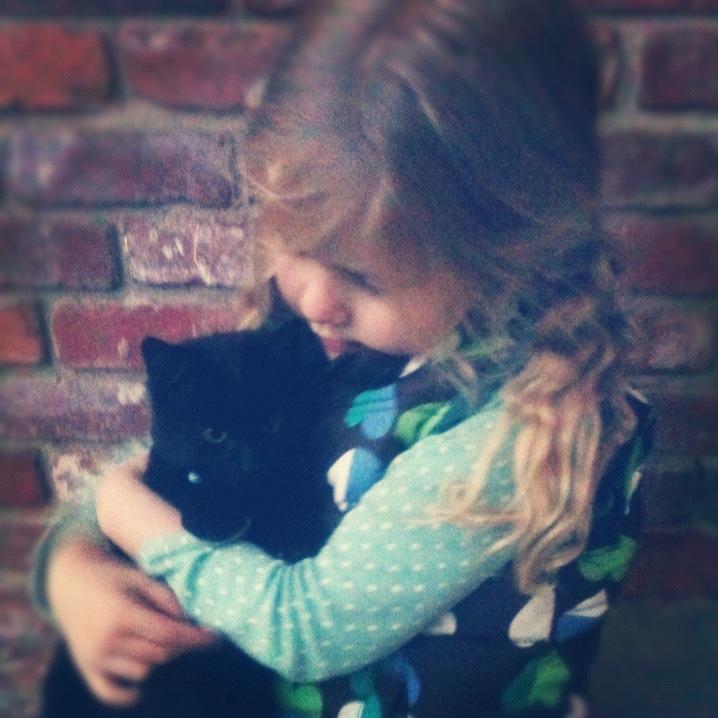 Black Kitten with Girl