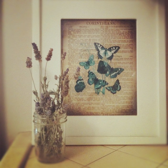Lavendar and Butterfly Art