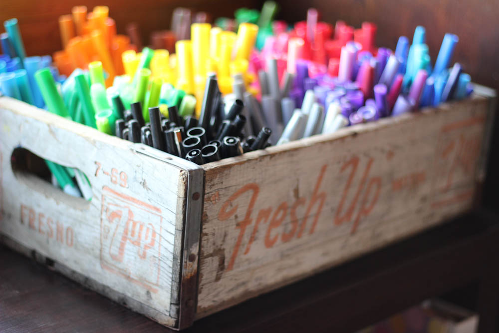 rainbow markers wooden soda crate