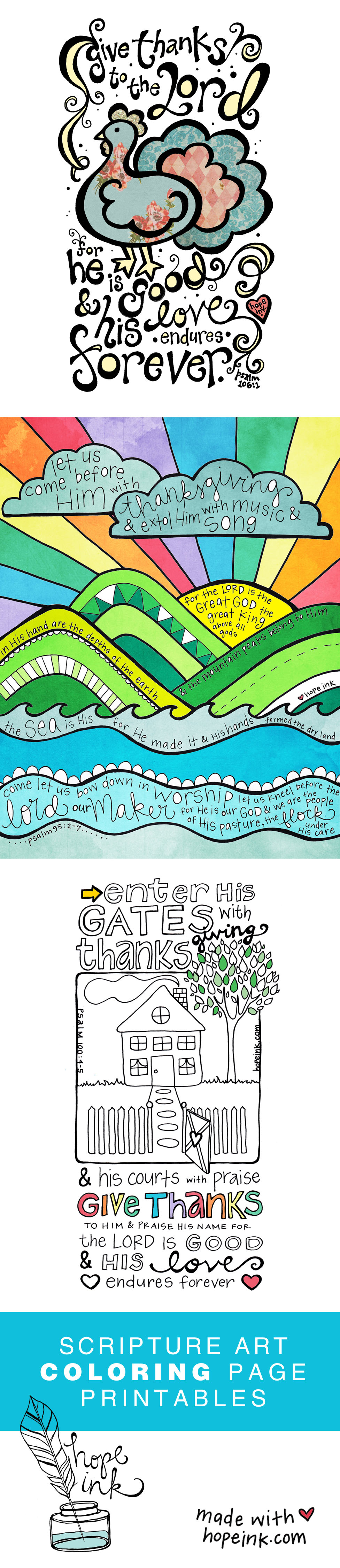 Thanksgiving Coloring Printables Scripture Art