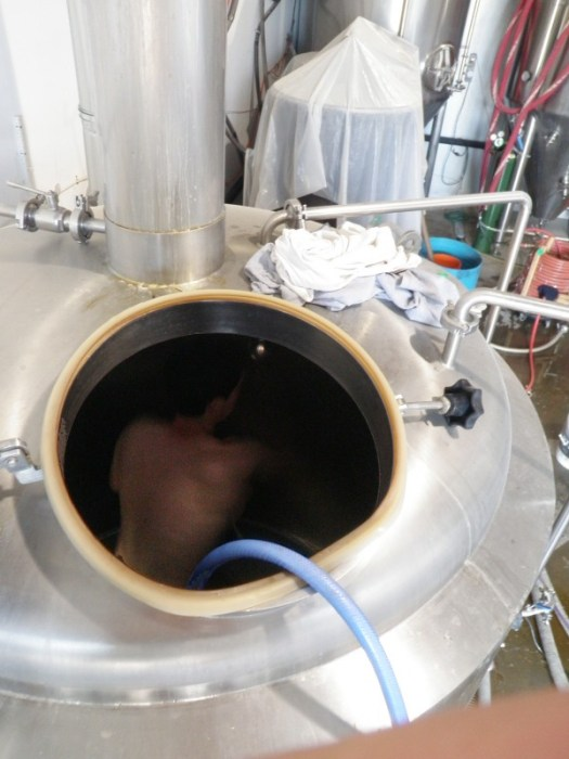 Cleaning the Kettle at Rivertown Brewing