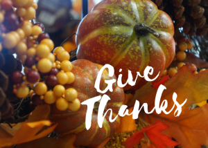Grapes and gourds with text Give Thanks