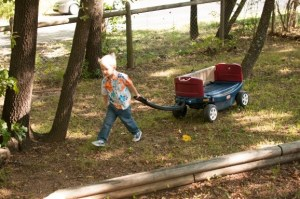 Child with wagon on playground