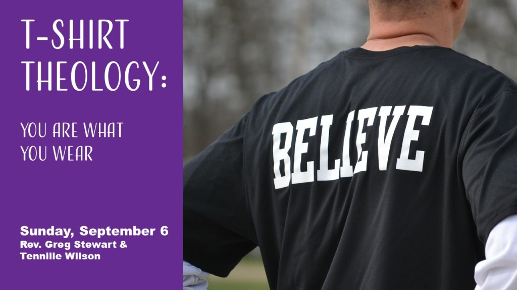 """Man in t-shirt that says """"Believe"""""""