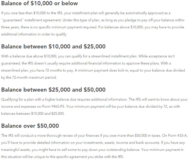 TurboTax Payment Plan Summary