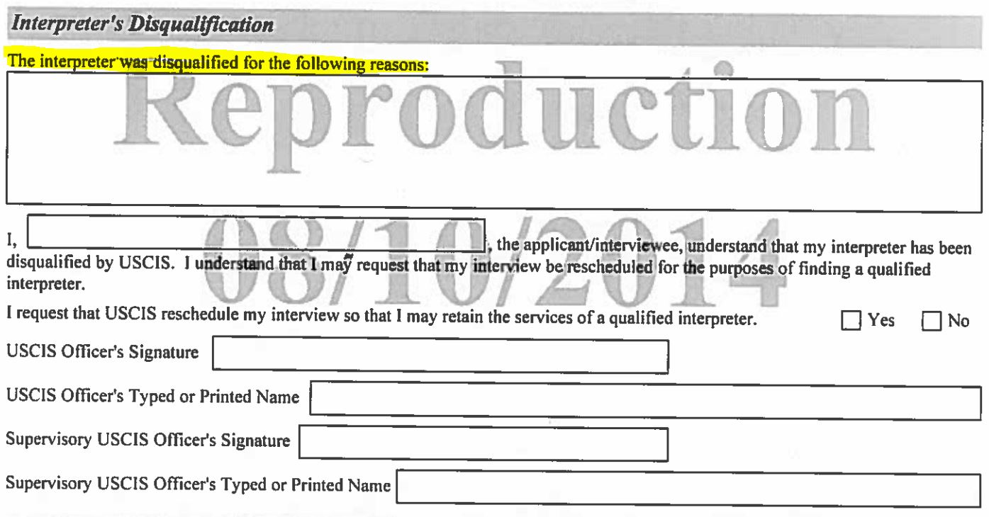 New rule on interpreters at uscis interviews form g 1256 interpreters disqualification falaconquin