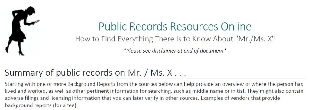 Screen Capture from DOJ Public Records Guide