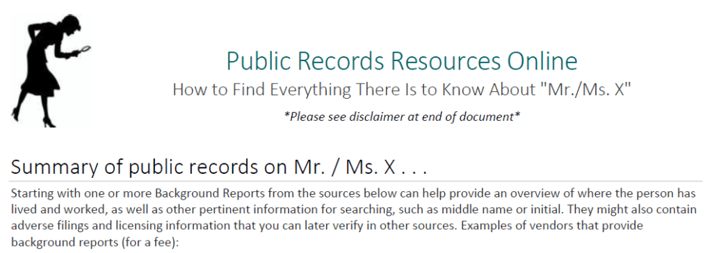 Screen Capture from DOJ Public Records Guide