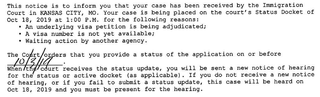 status docket notice