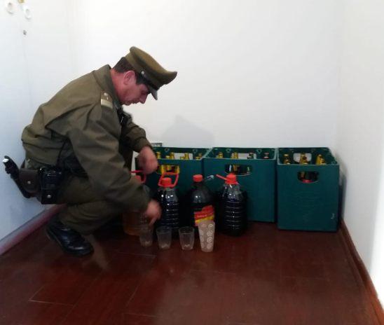Carabieneros detectó venta ilegal de licores en Melozal