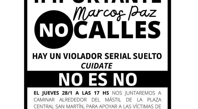 Víctimas de abuso sexual marchan en la plaza central de Marcos Paz para pedir justicia