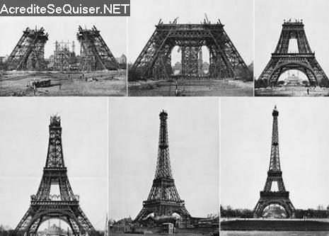 Varias fases da construção da Torre Eiffel