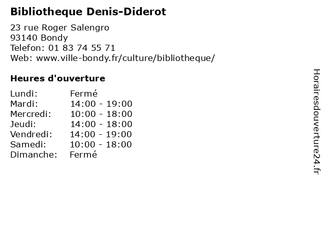 ouverture bibliotheque denis diderot
