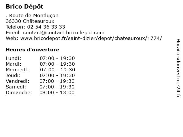 ᐅ brico depot horaires d ouverture