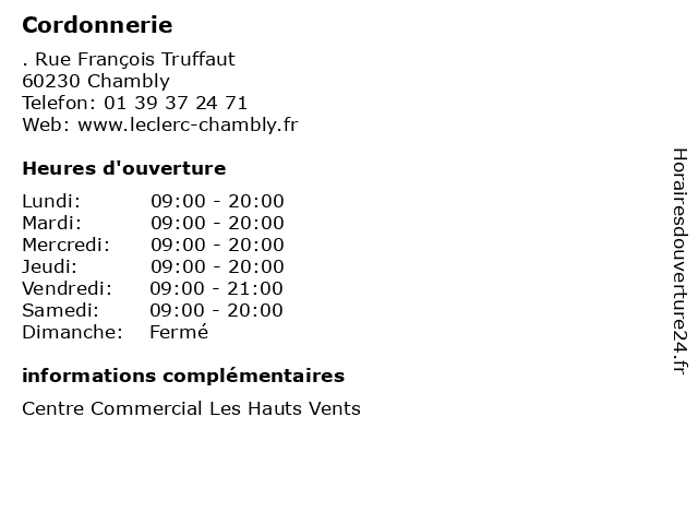 ᐅ horaires d ouverture cordonnerie