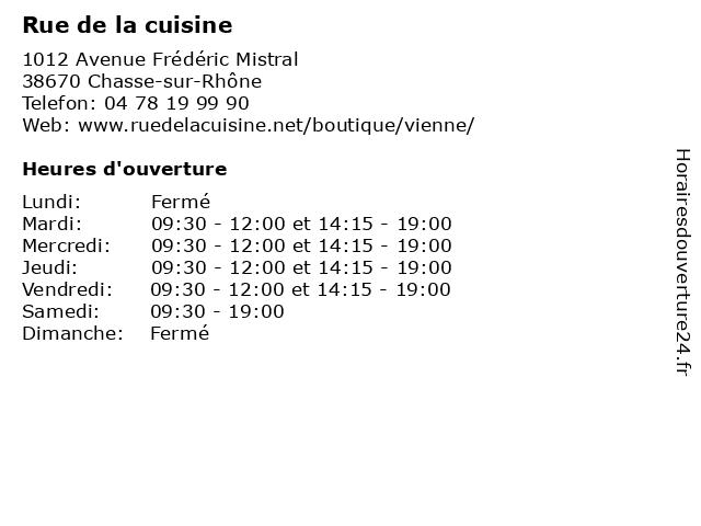 ᐅ rue de la cuisine horaires d
