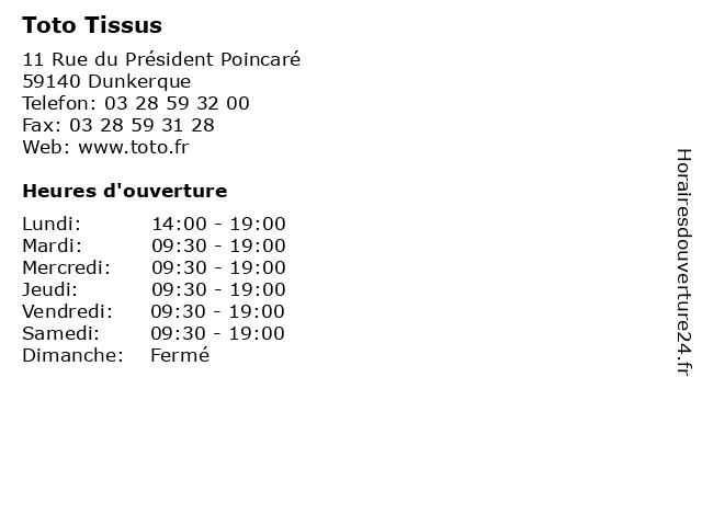 ᐅ horaires d ouverture toto tissus