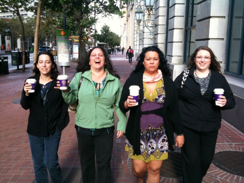 Lesa, Gabi, Mew, and Kim walking in SF