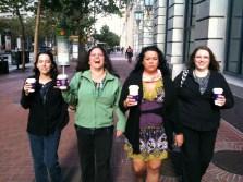 Lesa, Gabi, Mew, and Kim walking in SF