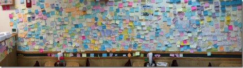 Post It Wall At Kims Teriyaki