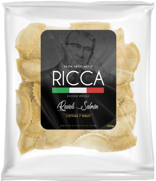 En Bogotá la pasta se llama RICCA. Paquete de Ravioli
