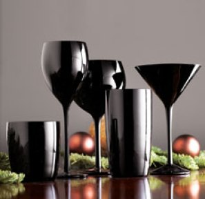 Black glassware from Horchow