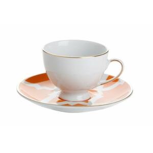 Porland Morocco Desen 3 Turuncu Tabaklı Kahve Fincanı 80 Cc Bardaklar