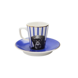 Porland Wild Life Monkey Tabaklı Kahve Fincanı 75 Cc Bardaklar