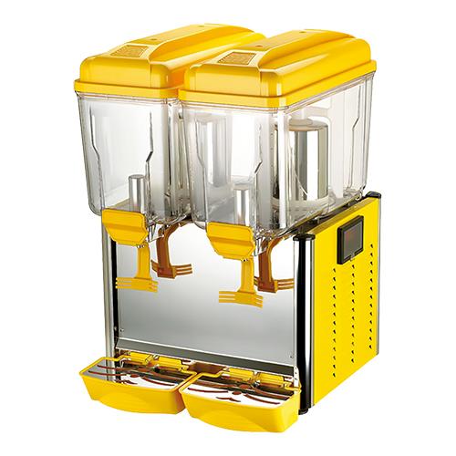 Illustratie: afbeelding van een drankendispenser van CaterCool. De dispenser is geel met 2 transparante containers van 12 liter elk.