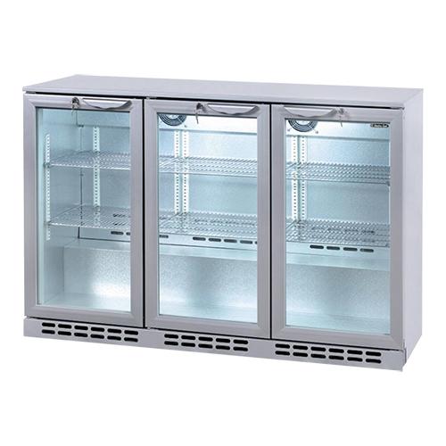 Illustratie: foto van de grijze uitvoering van de Exquisit koeler voor flessen en blikjes met 330 liter inhoud en glazen deuren van Exquisit.