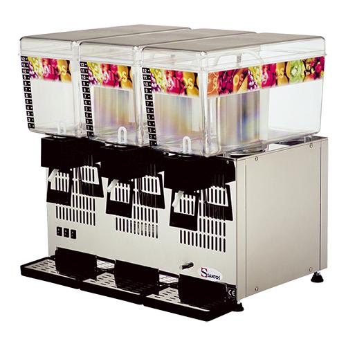 Illustratie: foto van de gekoelde drankendispenser van Santos. De machine heeft 3 x 12 liter inhoud en de roermechanismen zijn afzonderlijk te bedienen.