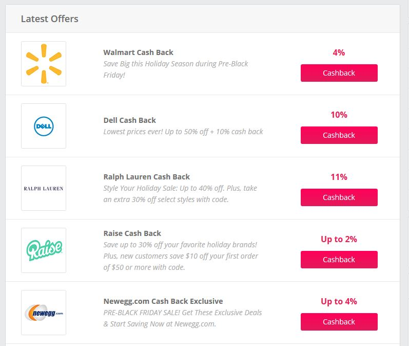 Top Cash Back Offers